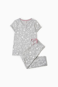 Star pattern pyjamas in 100% cotton, Grey, hi-res