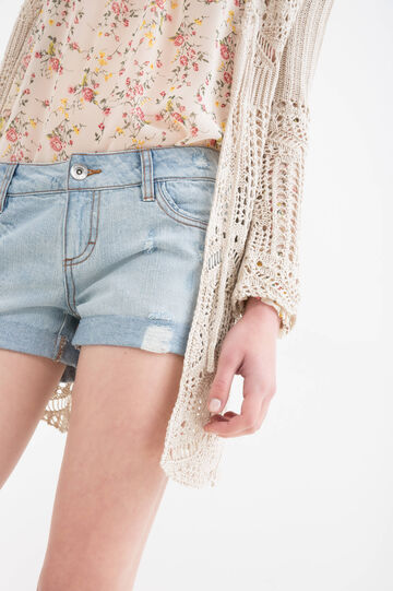 Denim shorts with rips and worn effect
