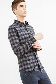 Slim-fit casual shirt with small pocket with zip, Black/Grey, hi-res