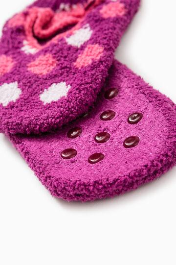 Stretch polka dot slipper socks, Purple, hi-res