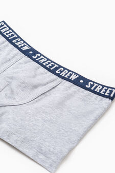 Cotton boxers with embroidered lettering, Grey Marl, hi-res