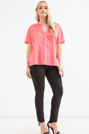 Curvy solid colour 100% cotton blouse, Pink, hi-res
