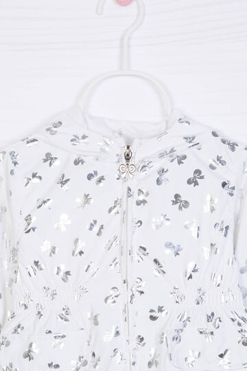 Patterned jacket with hood, White, hi-res