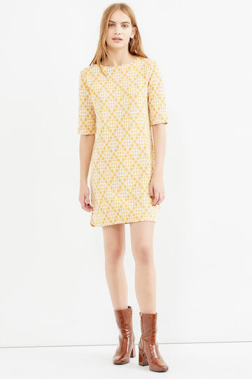 Patterned cotton dress with elbow-length sleeves, Ochre Yellow, hi-res
