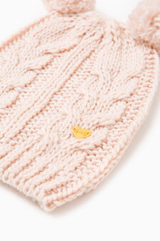 Ribbed and cable knit beanie cap, Pink, hi-res