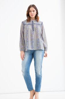 Curvy blouse with diamantés and print, Blue, hi-res
