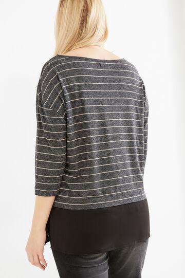 Curvy T-shirt with striped three-quarter sleeves, Slate Grey, hi-res