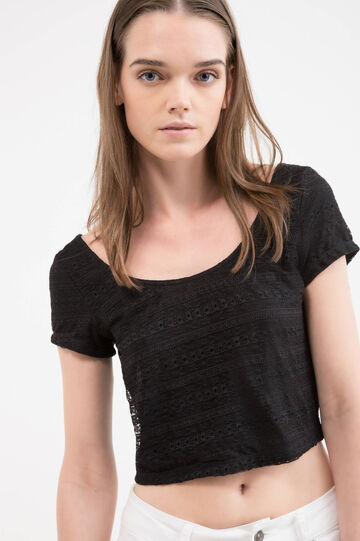 Crop stretch T-shirt with lace, Black, hi-res