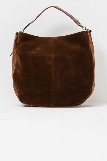 Shoulder bag with suede insert, Leather Brown, hi-res