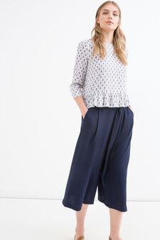 Solid colour stretch culottes, Navy Blue, hi-res