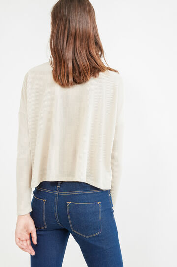 Ribbed short pullover with high neck, Natural, hi-res