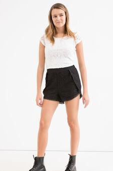 Shorts cotone stretch pizzo Teen, Nero, hi-res