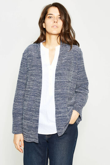Curvy knitted mélange cardigan, White/Blue, hi-res