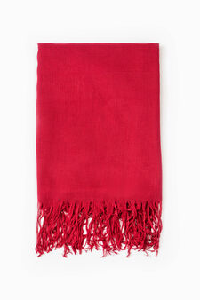 100% viscose scarf with fringing, Red, hi-res