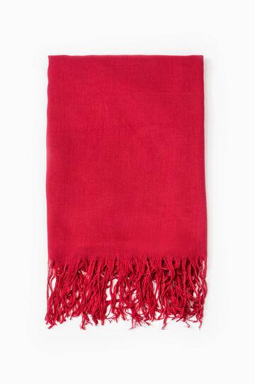 Sciarpa pura viscosa con frange, Rosso, hi-res
