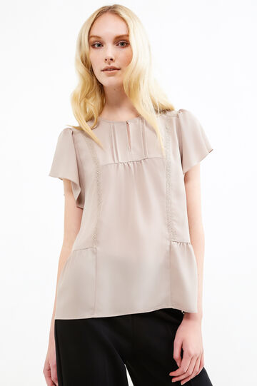 Blouse with lace and pleated motif, Sand, hi-res