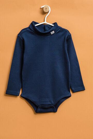 Body puro cotone maniche lunghe, Blu navy, hi-res