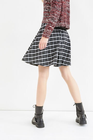 High-waisted skirt with check pattern, Black/White, hi-res