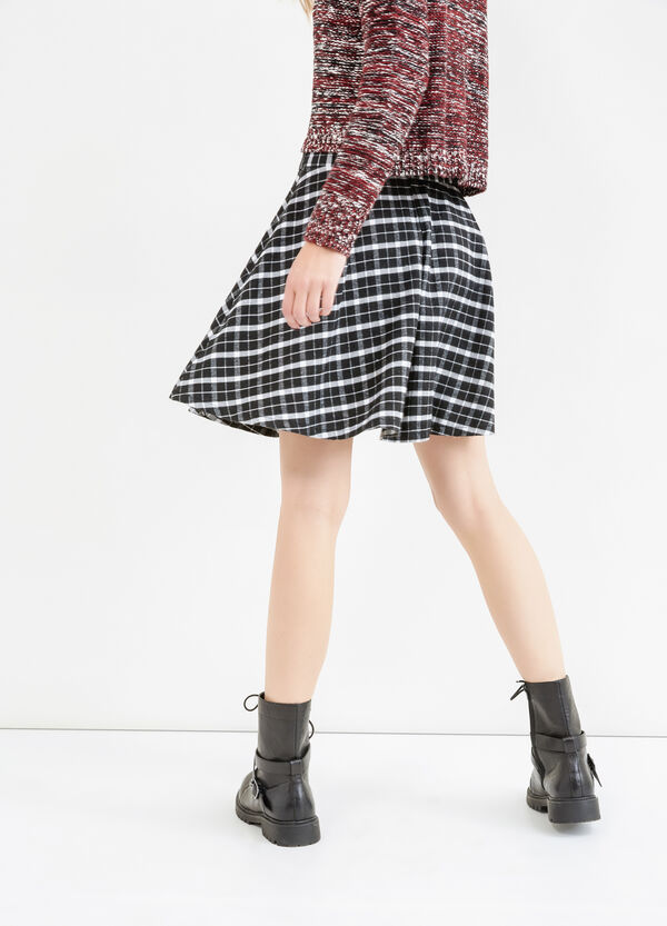 High-waisted skirt with check pattern | OVS