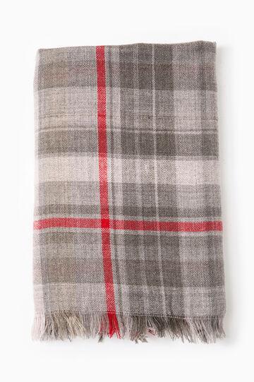 Tartan pattern scarf, Grey/Red, hi-res