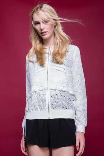 Broderie anglaise jacket with zip, White, hi-res