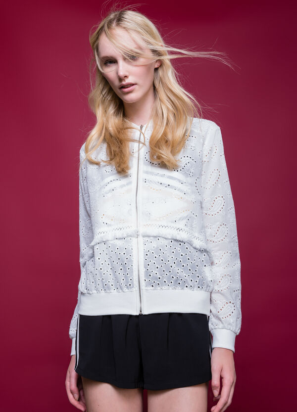 Broderie anglaise jacket with zip | OVS