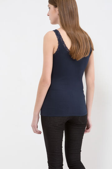 Cotton blend top with lace, Navy Blue, hi-res