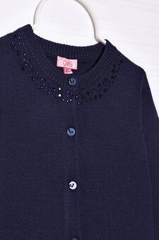 Cardigan misto cotone con strass, Blu navy, hi-res