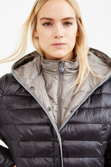 Curvy down jacket with hood, Chocolate Brown, hi-res