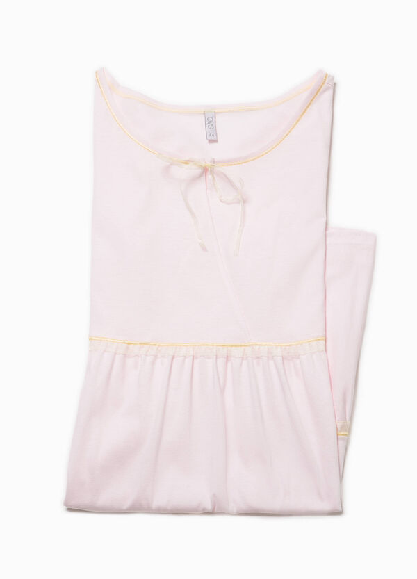 Cotton nightshirt with trim | OVS