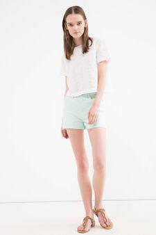 Shorts cotone stretch tinta unita, Azzurro acqua, hi-res