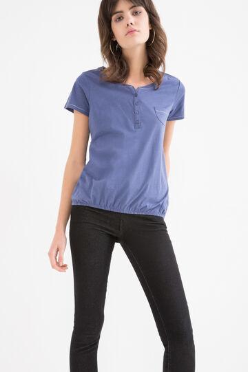 T-shirt puro cotone tinta unita, Denim, hi-res