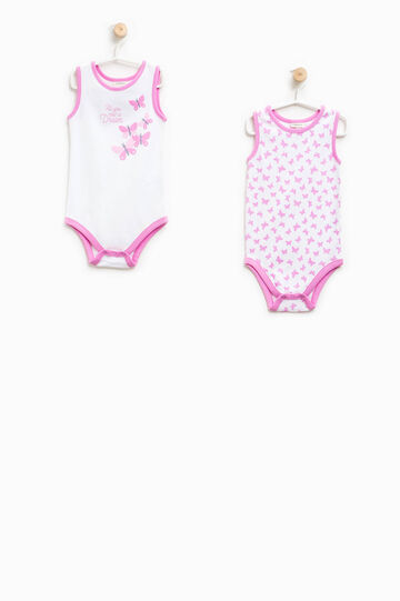 Two-pack bodysuits print and butterfly pattern, White/Pink, hi-res