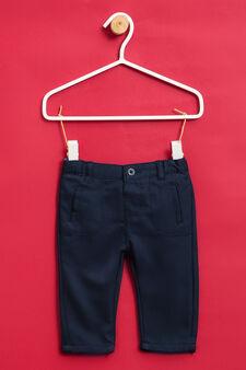Pantaloni puro cotone tinta unita, Blu navy, hi-res