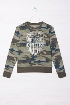 100% cotton hoodie with camouflage pattern, Army Green, hi-res
