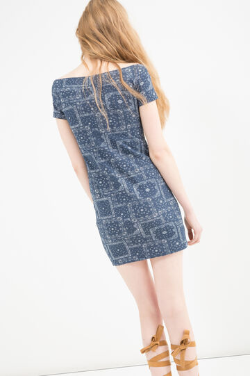 Short printed dress in stretch cotton, Blue, hi-res