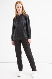 Curvy patterned cotton gym hoodie, Black, hi-res