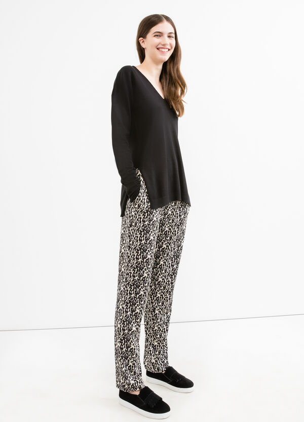 Stretch trousers with animal pattern | OVS