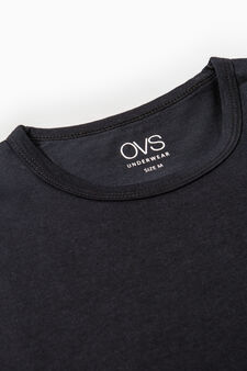 Two-pack cotton undershirts with round neck, Black, hi-res