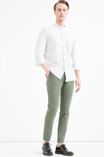 Camicia misto lino colletto coreana, Bianco/Grigio, hi-res