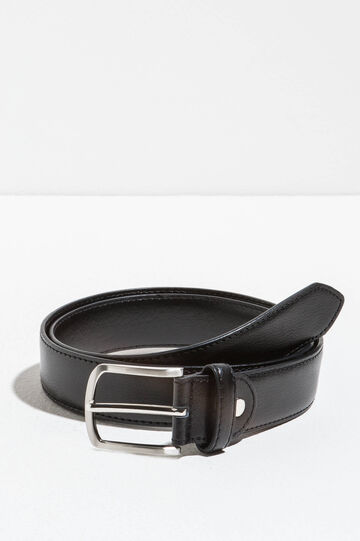 Smooth belt with polished buckle, Black, hi-res