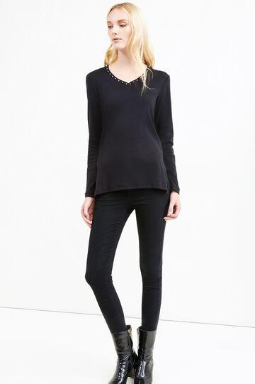 Diamanté T-shirt in 100% cotton, Black, hi-res