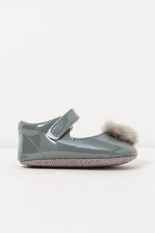 Shiny shoes with pompom, Dark Grey, hi-res