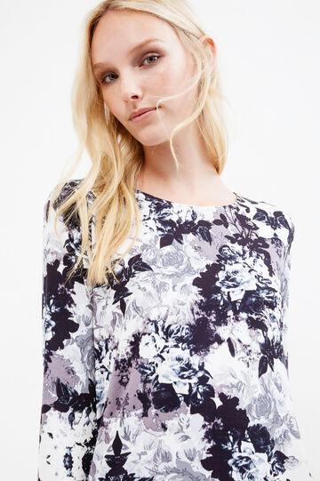 Floral stretch viscose T-shirt, Black/Grey, hi-res