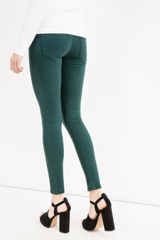 Solid colour stretch cotton trousers, Forest Green, hi-res