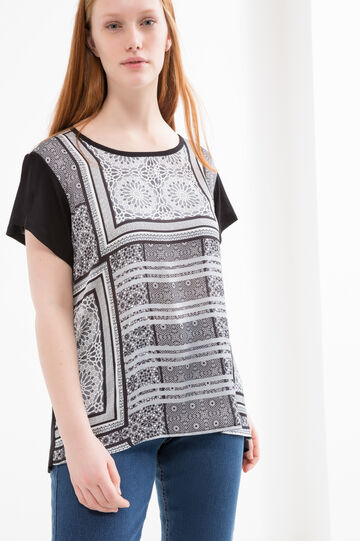 Curvy printed T-shirt in viscose.