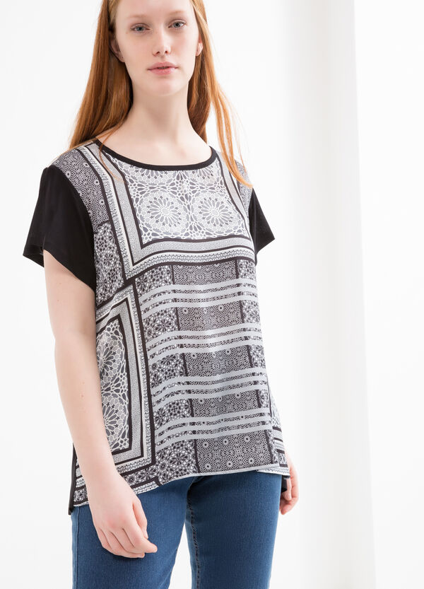 Curvy printed T-shirt in viscose. | OVS