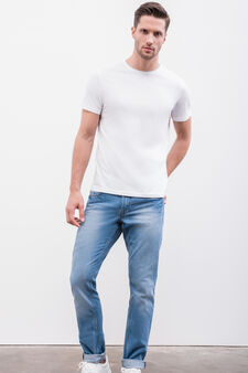 Worn-effect, slim-fit jeans with five pockets, Light Wash, hi-res