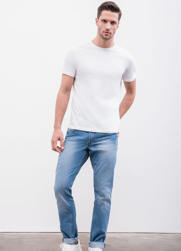 Worn-effect, slim-fit jeans with five pockets | OVS