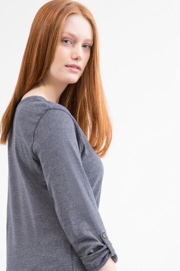 T-shirt puro cotone Curvy, Bianco/Blu, hi-res
